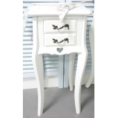 Bedside Table with 2 Drawers Vintage Bedroom Furniture- Cut Out Heart Design My Sweet Valentine
