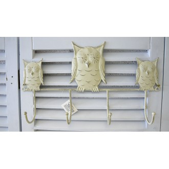 Cream Wall Mounted Coat Hook - Owl Design, Bathroom, Bedroom.