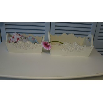 Dressing Table Tray for Make Up Set of 2 Shabby Chic Vintage Rose in Light Cream
