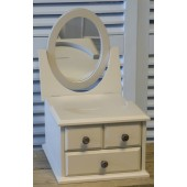 Jewellery Storage Box 3 Drawers Mirror Cream