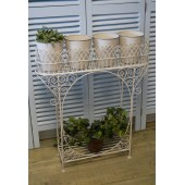 Ornate Cream Wrought Iron, 4 Pot Plant Stand, Conservatory, Porch, Hallway