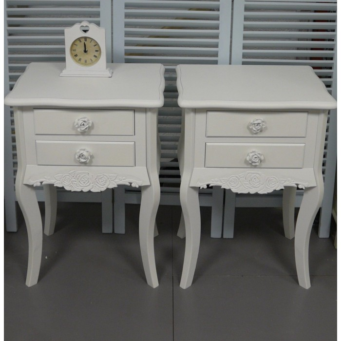 Pair of White 2 Drawer Bedside Tables Shabby Chic Bedroom Furniture