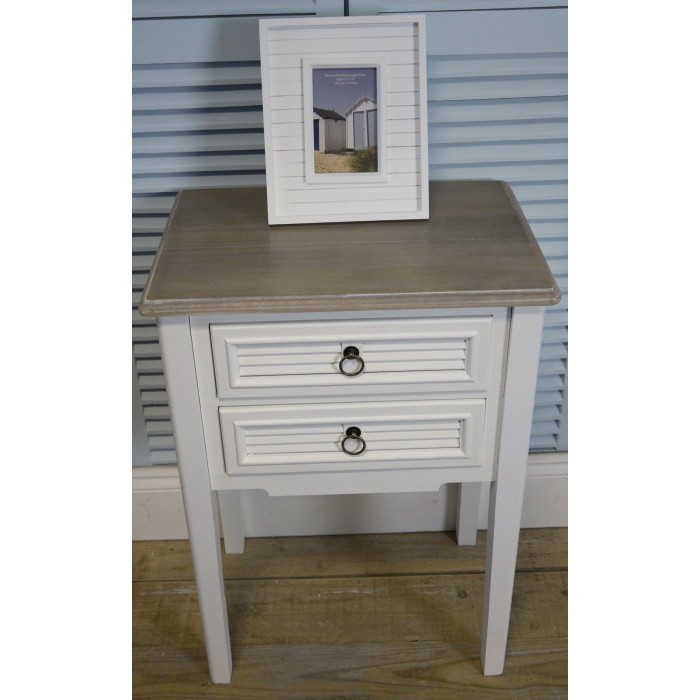 A Pair Of White Vintage Shabby Chic Two Drawer Bedside Tables/Bedside  Cabinets.