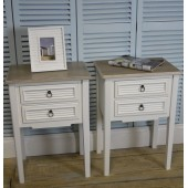 A Pair Of White Vintage Shabby Chic Two Drawer Bedside Tables/Bedside Cabinets. The Beach Hut Range