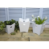 Set of 3 White Bins/Plant Pots Shabby Chic Heart Cut Out