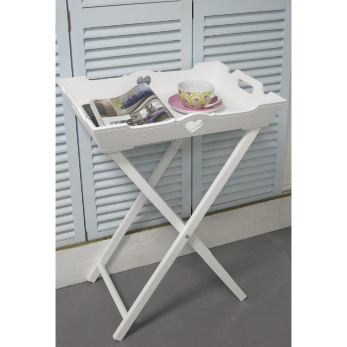 White Butler S Tray Side Table Shabby Chic Furniture Bedroom