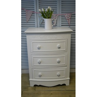 White Chest of Three Drawers from the Vintage Rose Range White Vintage Rose
