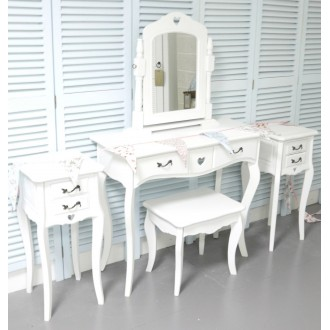 White Dressing Table, Vanity Mirror, Stool and 2 Bedside Tables Shabby Chic My Sweet Valentine