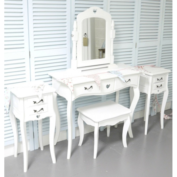 White Dressing Table Vanity Mirror Stool And 2 Bedside Tables Shabby Chic My Sweet