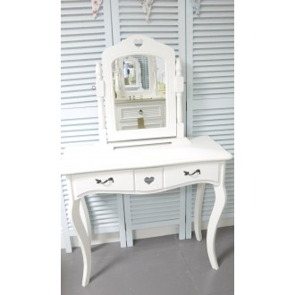 White Dressing Table & Mirror on stand shabby chic bedroom furniture. My Sweet Valentine