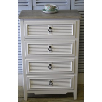 White Four Drawer Chest/Bedside Cabinet White Beach Style Wooden Top The Beach Hut Range