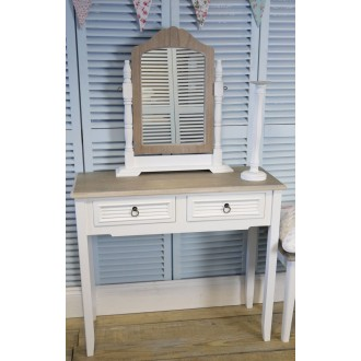 White/Lime Wash Vintage Two Drawer Dressing Table/Hall Table With Vanity Mirror The Beach Hut Range