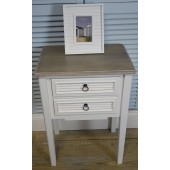 White Vintage Shabby Chic Two Drawer Bedside Table/Bedside Cabinet The Beach Hut Range