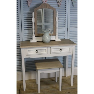 White Vintage Two Drawer Dressing Table/Hall Table With Vanity Mirror And Stool The Beach Hut Range