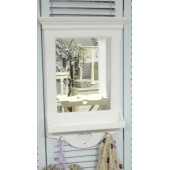 White Wall Mirror With Shelf And Two Hooks Shabby Chic Furniture