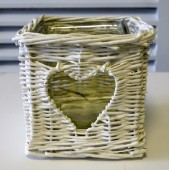 Wicker White Candle Holder