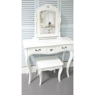 White Dressing Table Vanity Mirror & Stool Bedroom Furniture French Style Bedroom Furniture Sets