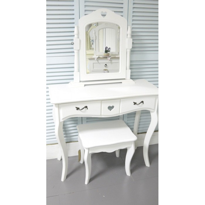 White Dressing Table Vanity Mirror & Stool Bedroom Furniture French Style